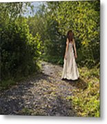 Girl In Country Lane Metal Print