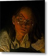 Girl In Glasses In Candlelight Metal Print