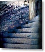 Girl In Nightgown On Circular Stone Steps Metal Print