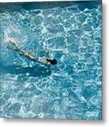 Girl In Pool Metal Print