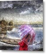 Girl In Red Coat Metal Print