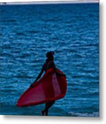 Girl In Red Float Metal Print