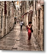 Girl In Red In The White Streets Of Dubrovnik Metal Print
