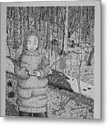Girl In The Forest Metal Print