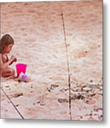 Girl In The Sand Metal Print
