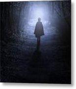 Girl In The Woods Metal Print