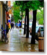 Girl In The Yellow Raincoat Rainy Stroll Through Streets Of The City Montreal Scenes Carole  Metal Print