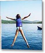 Girl Jumps In The Lake Metal Print