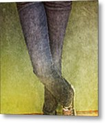 Girl Leaning Against Wall Metal Print by Birgit Tyrrell