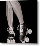 Girl Legs In Roller Skates Artistic Concept Metal Print