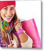 Girl Lick Sweets And Holding Pink Bag Metal Print