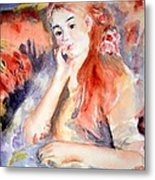 Girl Lounging  After Renoir Metal Print
