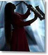 Girl Musician Playing Saxophone In Silhouette Color 3353.02 Metal Print
