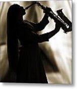 Girl Musician Playing Saxophone In Silhouette Sepia 3353.01 Metal Print