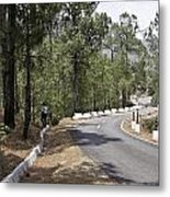 Girl On A Mountain Highway Road Metal Print
