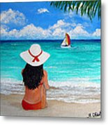 Girl On A Turquoise Beach Metal Print