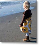 Girl On Beach Metal Print