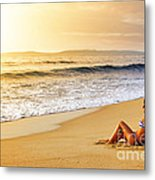 Girl On Seashore  Metal Print