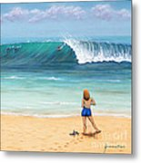 Girl On Surfer Beach Metal Print