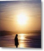 Girl On The Beach At Sunrise Metal Print