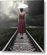 Girl On Tracks Metal Print