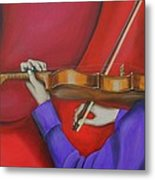 Girl On Violin Metal Print