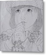 Girl Praying Metal Print