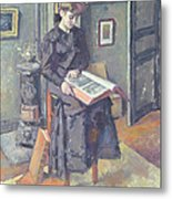 Girl Reading A Book Metal Print