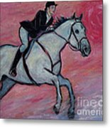 Girl Riding Her Horse I Metal Print