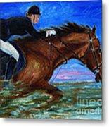 Girl Riding Her Horse II Metal Print