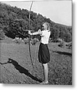 Girl Scout With Bow And Arrow Metal Print