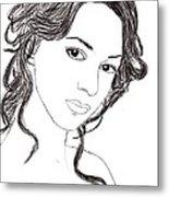 Girl Sketch Metal Print