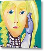 Girl Talking On Her Mobile Metal Print