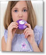 Girl Using Asthma Medication Metal Print