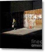 Girl Walking Into Shadow - New York City Street Scene Metal Print