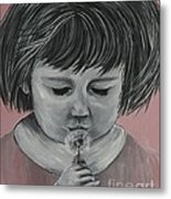 Girl Wishing Metal Print