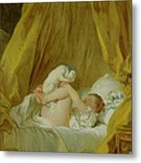 Girl With A Dog Metal Print by Jean Honore Fragonard