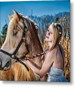 Girl With A Horse Metal Print