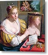 Girl With A Mirror, An Allegory Metal Print