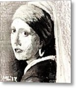 Girl With A Pearl Earring By Jan Vermeer Van Delft Metal Print
