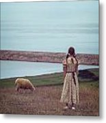 Girl With A Sheep Metal Print by Joana Kruse