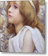Girl With Apple Blossom Metal Print by Henry Ryland