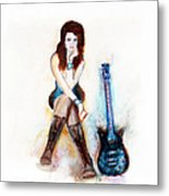 Girl With Blue Guitar Metal Print