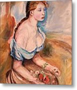 Girl With Dasies Metal Print