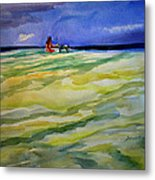 Girl With Dog On The Beach Metal Print