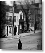 Girl With Dog - Somewhere In America Metal Print
