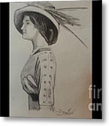 Girl With Feathered Hat Metal Print