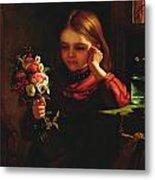 Girl With Flowers Metal Print by John Davidson