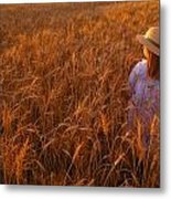 Girl With Hat In Field Metal Print