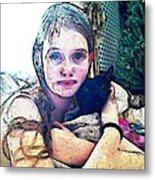 Girl With Her Black Cat Metal Print